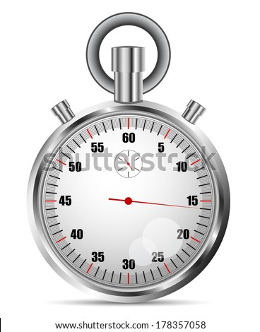 Vector illustration of stopwatch isolated on white.