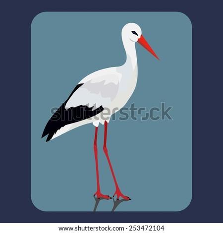 Vector illustration of stork - stock vector