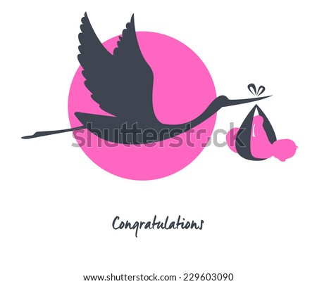 Vector illustration of Stork with baby image - stock vector
