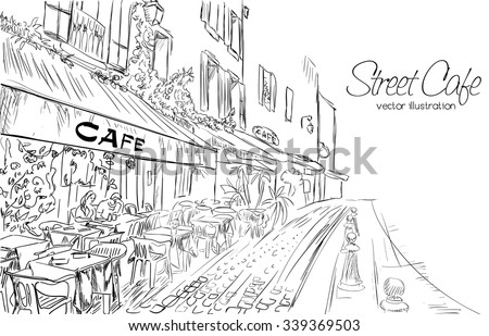 Vector illustration of street cafe in modern city in doodle style