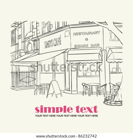 Vector illustration of street-cafe in sketch style. Place for your text. - stock vector