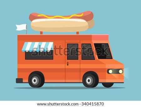 Vector illustration of Street Food Truck - stock vector