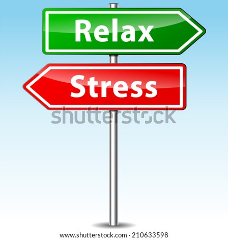 Vector illustration of stress and relax directional sign