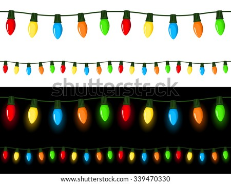 Vector illustration of strings of Christmas lights of various lengths, with light and dark backgrounds. Strings can be attached end to end to make longer, seamless strings of any length. - stock vector