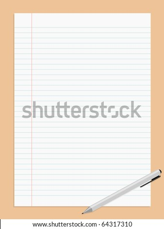 Vector illustration of striped paper sheet and pen - stock vector