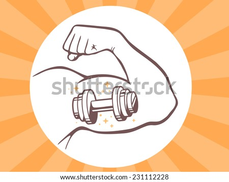 Vector illustration of strong man hand with  icon of dumbbell on bright background. Manly line art design for web, site, advertising, banner, poster, board and print. - stock vector