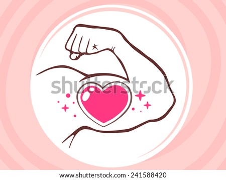 Vector illustration of strong man hand with  icon of heart on pink background. Manly line art design for web, site, advertising, banner, poster, board and print. - stock vector