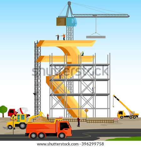 vector illustration of structure building of Indian Rupee - stock vector