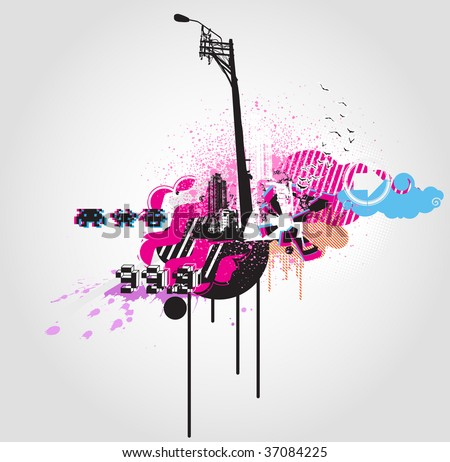 Vector illustration of style Decorative urban background - stock vector