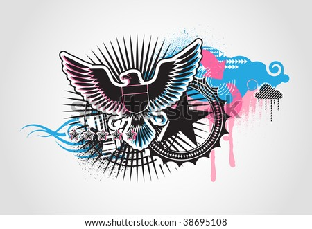 Vector illustration of style Decorative urban background with coat-of-arms  Medieval Eagle - stock vector