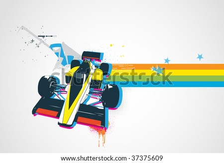 Vector illustration of style Decorative urban background with funny retro sport car - stock vector