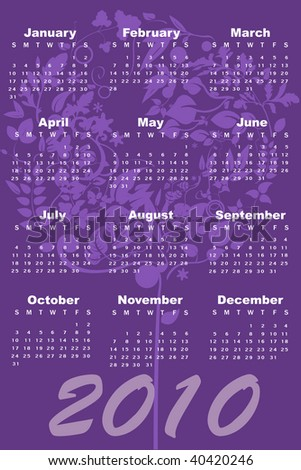 Vector Illustration of style design Calendar for 2010