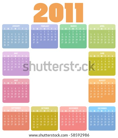 Vector Illustration of style design Colorful Calendar for 2011