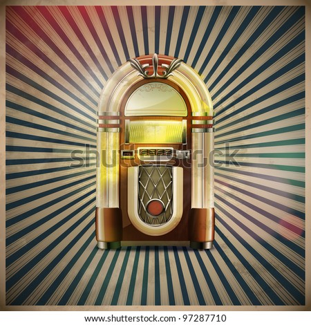 Vector illustration of style detailed classic juke box on retro grunge background - stock vector