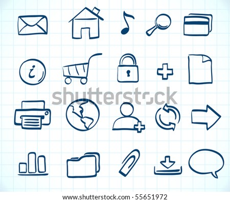 Vector illustration of style handwriting icon set  for common internet functions - stock vector