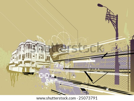 Vector illustration of style urban background - stock vector