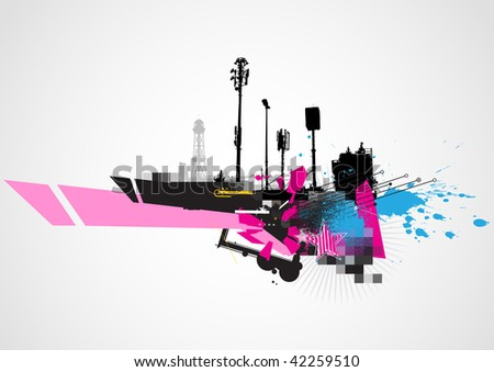 Vector illustration of styled Decorative urban background - stock vector