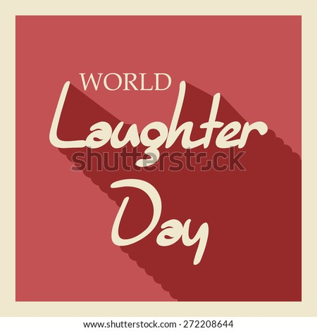 Vector illustration of stylish shiny text for World Laughter Day in red background. - stock vector