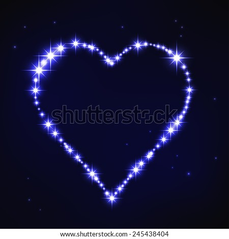 vector illustration of stylized blue irregular heart in style of star constellation - stock vector