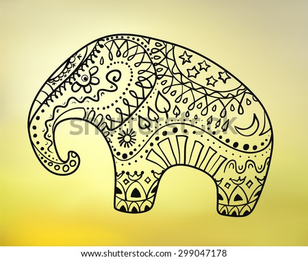 Vector illustration of stylized Elephant with ornaments (earth and day cycle elements - sun, moon, stars, trees, sky, earth, water, fire). Yellow blurred background. Eps 10. - stock vector