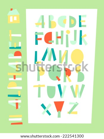 Vector illustration of stylized geometric beautiful color alphabet. - stock vector