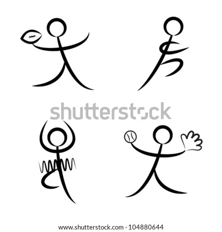 Vector illustration of stylized sports figures - stock vector