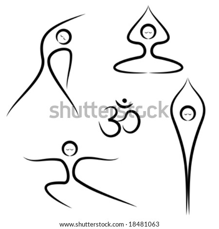 Vector illustration of stylized yoga poses. - stock vector