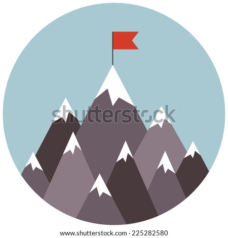 Vector illustration of success. Success business concept. Top of the mountain with red flag. Flat illustration of goal achievement - stock vector