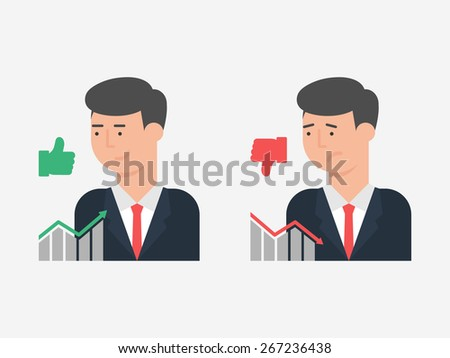 Vector illustration of successful and unsuccessful businessman, flat style - stock vector