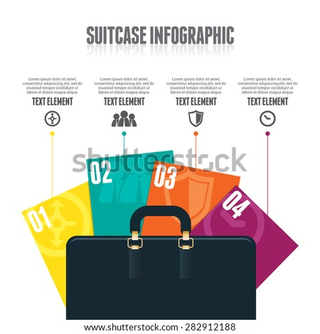 Vector illustration of suitcase infographic design element. - stock vector