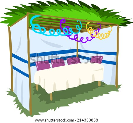 Vector illustration of Sukkah with ornaments and table for the Jewish Holiday Sukkot.  - stock vector
