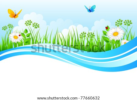 Vector illustration of Summer background with grass - stock vector
