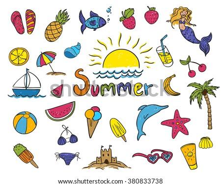 Vector Illustration of Summer Children's Drawings  - stock vector