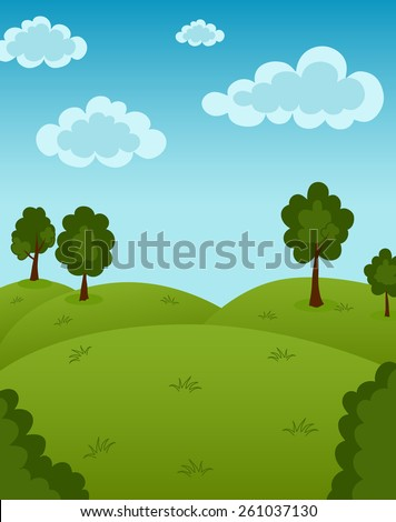 Vector illustration of summer landscape - stock vector