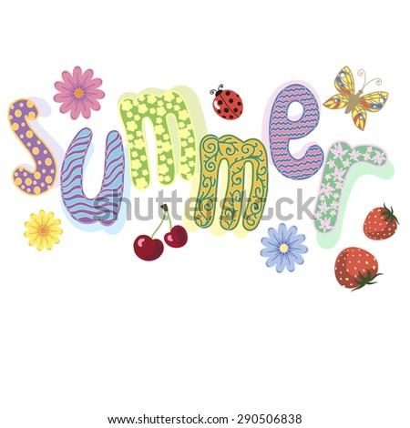 Vector illustration  of summer lettering - stock vector
