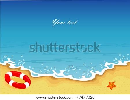 Vector illustration of Summer tropical banner - stock vector