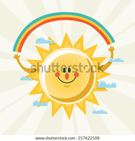 Vector illustration of sun holding a rainbow. - stock vector
