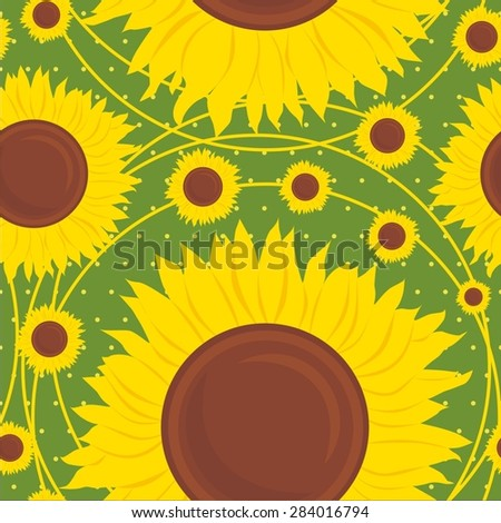 Vector illustration of  sunflowers seamless pattern background - stock vector