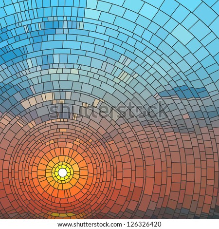Vector illustration of sunset in blue sky in sea, stained glass window. - stock vector