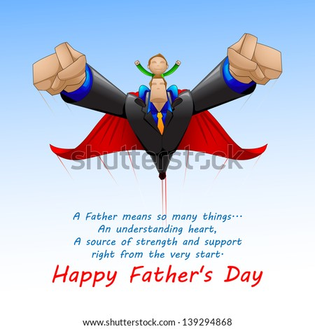 vector illustration of Superdad flying with son on Father's Day background - stock vector