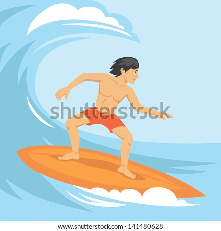 Vector illustration of surfer riding the wave - stock vector