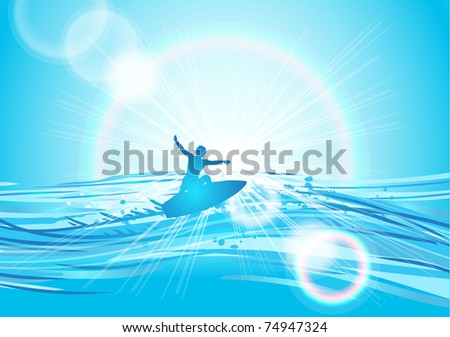 vector illustration of surfing at sunrise - stock vector