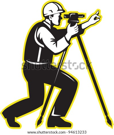 vector Illustration of surveyor civil geodetic engineer worker with theodolite total station equipment done in retro woodcut style. - stock vector