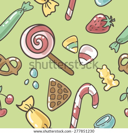 Vector Illustration of sweet pattern with cupcake, strawberry,   chocolate, confection, wafer, cute, smile, candy, illustration, pink, cherry, donut, macaroon, cookies, muffin, bubble, happy, lollipop - stock vector
