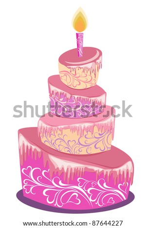 Vector illustration of sweet pink wedding cake isolated on a white - stock vector