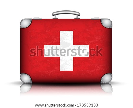 Vector illustration of Swiss suitcase.