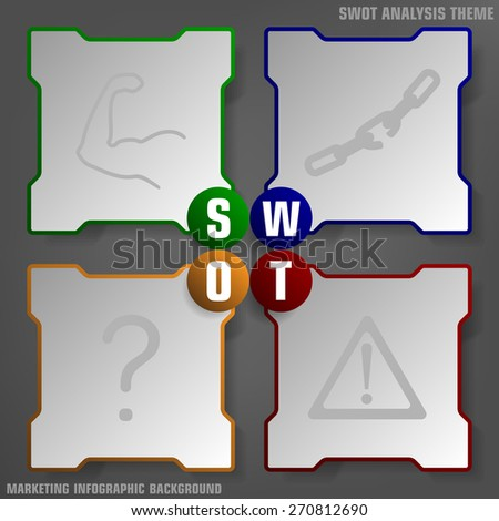Vector illustration of SWOT analysis background colored theme - stock vector