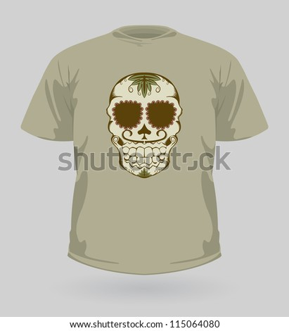 Vector illustration of t-shirt with decorative brown Sugar Skull for Halloween