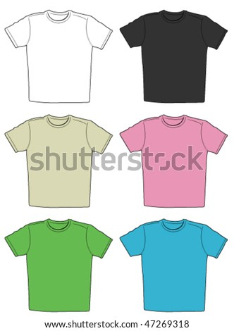 Vector illustration of t-shirts in different colors - stock vector