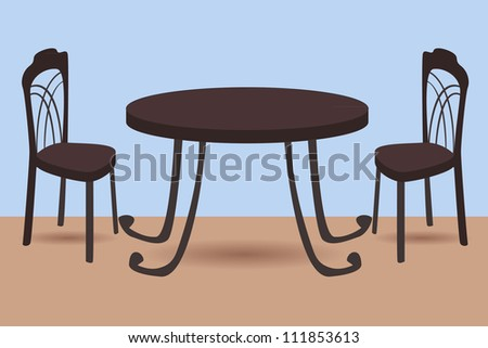 vector illustration of table and chairs